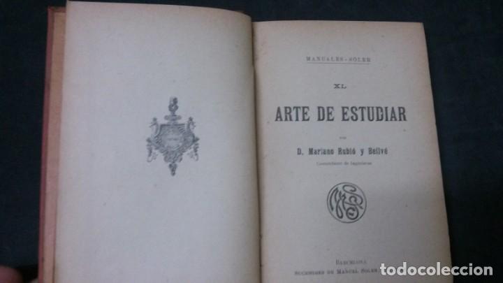 Libros antiguos: MANUALES SOLER-ARTE DE ESTUDIAR - Foto 2 - 155972442