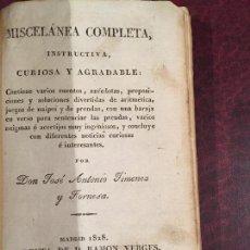 Libros antiguos: MISCELANEA COMPLETA INSTRUCTIVA,CURIOSA Y AGRADABLE. Lote 151665078