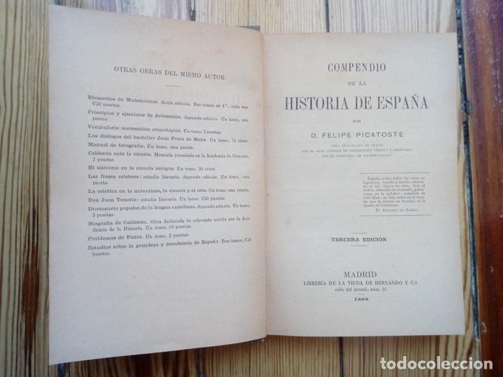 Libros antiguos: HISTORIA DE ESPAÑA DE FELIPE PICATOSTE MADRID 1888 - Foto 2 - 156740446