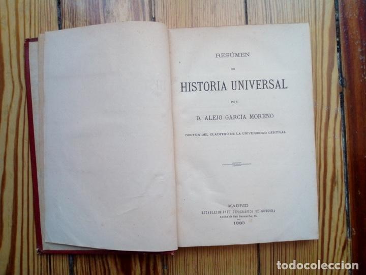 Libros antiguos: HISTORIA UNIVERSAL RESUMEN DE ALEJO GARCIA MORENO 1883 MADRID - Foto 2 - 156740866