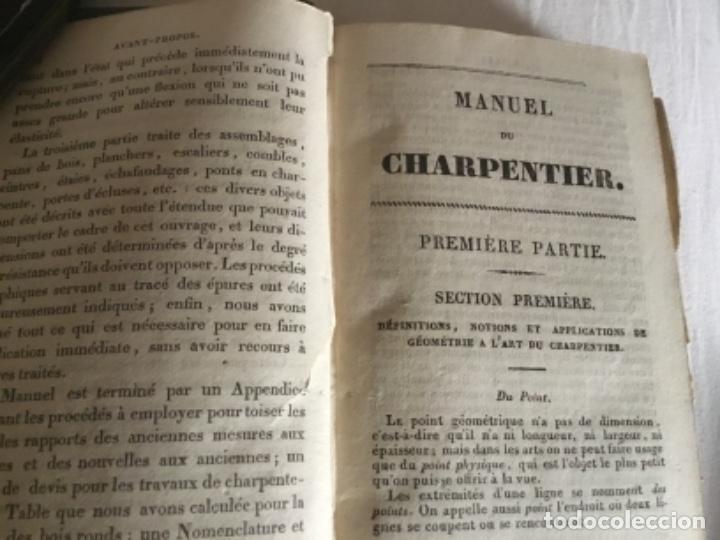 Libros antiguos: Carpintería.Manuel du charpentier, Paris 1834 Hanus - Foto 2 - 157328190