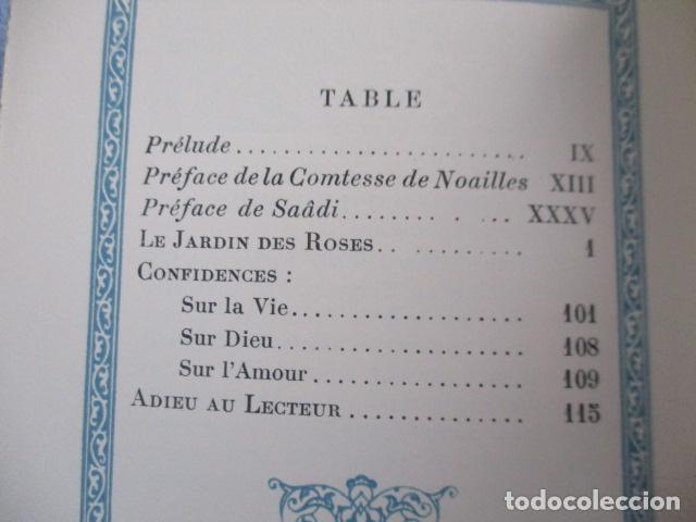 Libros antiguos: Le jardin des roses. - SAADI. 1935 - TIRADA DE 300 EJEMPLARES (EN FRANCES) - Foto 12 - 157759198