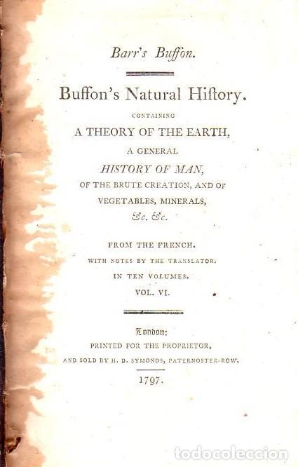 Libros antiguos: BUFFON´S NATURAL HIFTORY. BARR´S BUFFON. A THEORY OF THE EARTH A GENERAL HISTORY OF MAN.1797. VOL VI - Foto 2 - 158026886