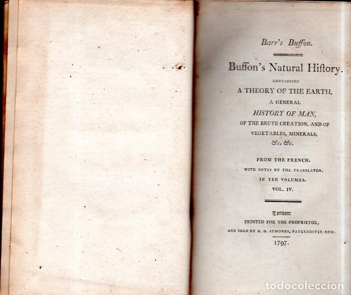 Libros antiguos: BUFFON´S NATURAL HIFTORY. BARR´S BUFFON. A THEORY OF THE EARTH A GENERAL HISTORY OF MAN.1797. VOL IV - Foto 4 - 158039442