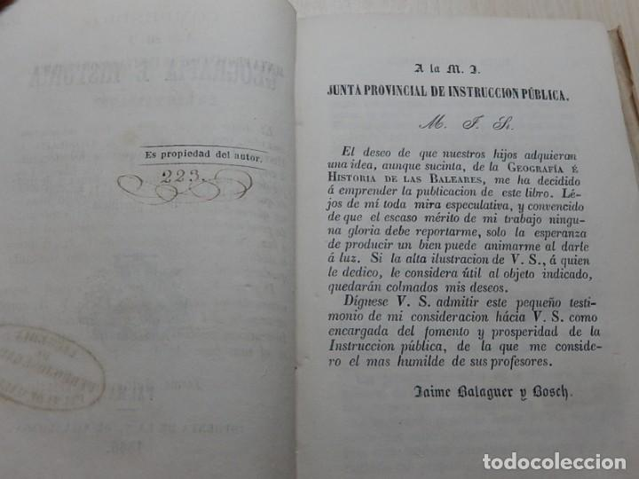 Libros antiguos: Compendio de Geografía e Historia de las Baleares.1866 - Foto 2 - 158241230