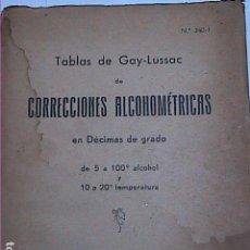 Libros antiguos: TABLAS DE GAY-LUSSAC DE CORRECCIONES ALCOHOMÉTRICAS. 1930.SOCIEDAD ENOLÓGICA DEL PENADÉS.VILAFRANCA. Lote 158936638