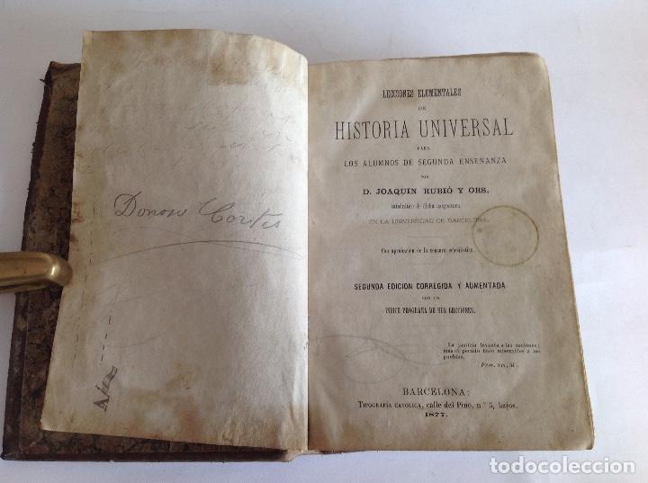 Libros antiguos: Lecciones elementales de Historia Universal. Joaquín Rubio y Ors. Barcelona 1877 - Foto 6 - 159052282