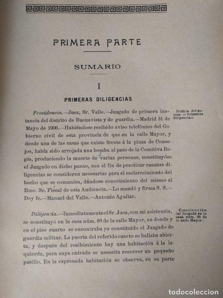 Libros antiguos: Causa por regicidio frustrado Mateo Morral, Francisco Ferrer, Nakens 1911 Atentado Alfonso XIII boda - Foto 5 - 159199486