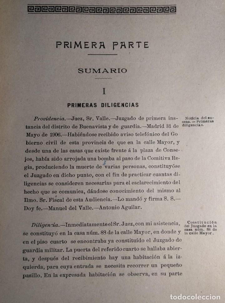 Libros antiguos: Causa por regicidio frustrado Mateo Morral, Francisco Ferrer, Nakens 1911 Atentado Alfonso XIII boda - Foto 6 - 159199486