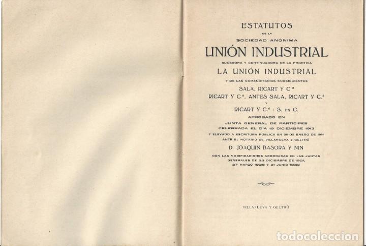 Libros antiguos: ESTATUTOS DE LA SOCIEDAD ANÓNIMA UNIÓN INDUSTRIAL. IMPRENTA DEL DIARIO. VILLANUEVA Y GELTRÚ- 1932 - Foto 2 - 159231246
