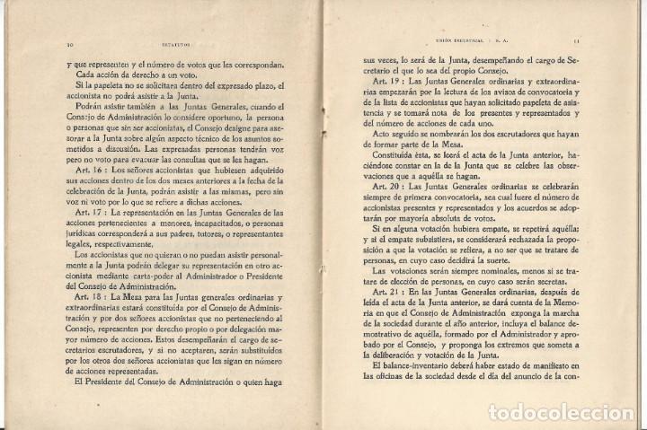 Libros antiguos: ESTATUTOS DE LA SOCIEDAD ANÓNIMA UNIÓN INDUSTRIAL. IMPRENTA DEL DIARIO. VILLANUEVA Y GELTRÚ- 1932 - Foto 3 - 159231246