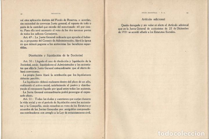 Libros antiguos: ESTATUTOS DE LA SOCIEDAD ANÓNIMA UNIÓN INDUSTRIAL. IMPRENTA DEL DIARIO. VILLANUEVA Y GELTRÚ- 1932 - Foto 4 - 159231246