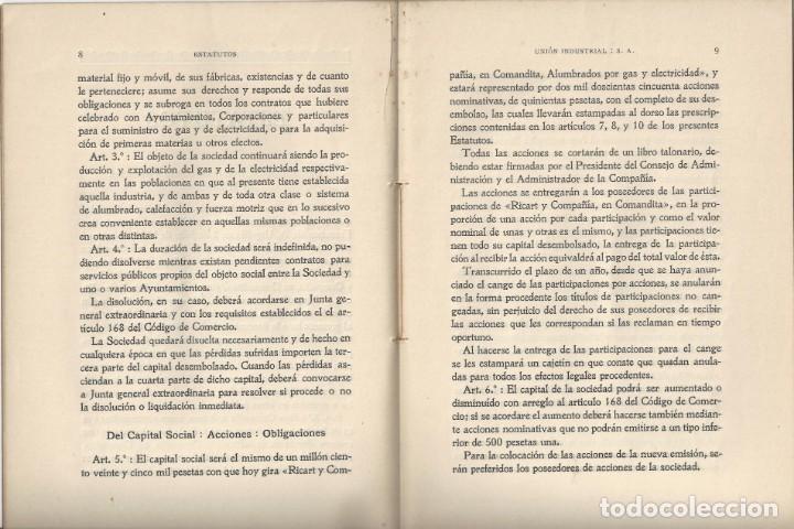 Libros antiguos: ESTATUTOS DE LA SOCIEDAD ANÓNIMA UNIÓN INDUSTRIAL. IMPRENTA DEL DIARIO. VILLANUEVA Y GELTRÚ- 1914 - Foto 3 - 159231622