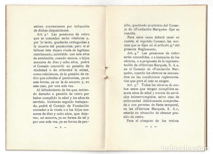 Libros antiguos: REGLAMENTO DE PENSIONES DE LA FUNDACIÓN MARQUÉS. IMPRENTA DIARIO. VILLANUEVA Y GELTRÚ- 1931 - Foto 3 - 159394322