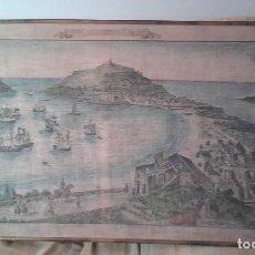 Libros antiguos: (SAN SEBASTIÁN VISTA) SAN SEBASTIÁN EN EL SIGLO XVII, MOTIVO COLOREADO DE ÉPOCA EN TELA. Lote 159638086