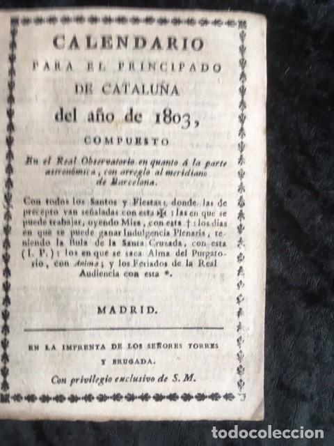 CALENDARIO PARA EL PRINCIPADO DE CATALUÑA DEL AÑO DE 1803 - IMPRENTA TORRES Y BRUGADA (Libros Antiguos, Raros y Curiosos - Ciencias, Manuales y Oficios - Otros)