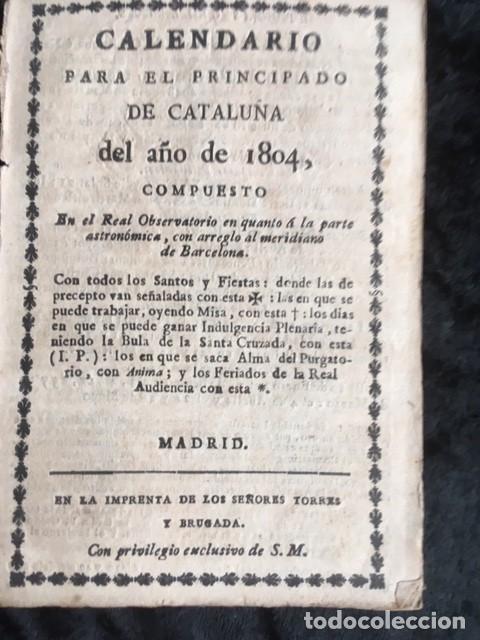 CALENDARIO PARA EL PRINCIPADO DE CATALUÑA DEL AÑO DE 1804 - IMPRENTA TORRES Y BRUGADA (Libros Antiguos, Raros y Curiosos - Ciencias, Manuales y Oficios - Otros)