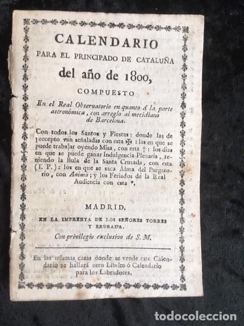 CALENDARIO PARA EL PRINCIPADO DE CATALUÑA DEL AÑO DE 1800 - IMPRENTA TORRES Y BRUGADA (Libros Antiguos, Raros y Curiosos - Ciencias, Manuales y Oficios - Otros)