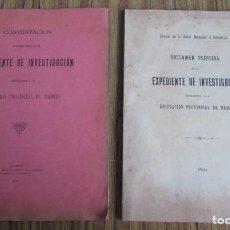 Libros antiguos: 2 LIBROS DICTAMEN PERICIAL + CONTESTACIÓN - EXPEDIENTE DE INVESTIGACION 1899 DIPUTACIÓN MADRID. Lote 160274122