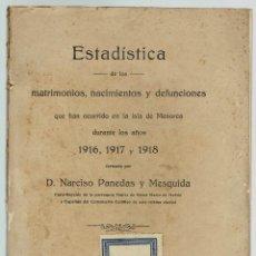 Libros antiguos: ESTADÍSTICA DE LOS MATRIMONIOS, NACIMIENTOS Y DEFUNCIONES.NARCISO PANEDAS MESQUIDA.1919(MENORCA.9.7). Lote 160459514
