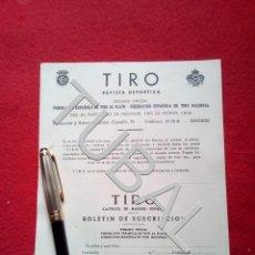 Libros antiguos: TUBAL CAZA CINEGÉTICA TIRO REVISTA DEPORTIVA BOLETIN DE SUSCRIPCION. Lote 160524534