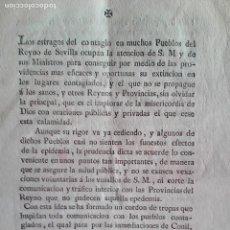 Libros antiguos: .-(GUADALQUIVIR MARGEN DERECHA). LA EPIDEMIA DE FIEBRE AMARILLA DE 1800. FOLLETO IMPRESO DE ÉPOCA. Lote 161441046