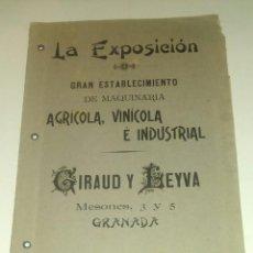 Libros antiguos: ANTIGUO CATALOGO LA EXPOSICION, MAQUINARIA AGRICOLA, VINICOLA E INDUSTRIAL, GIRAUD Y LEYVA.. Lote 161538278