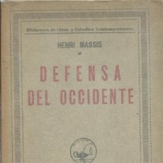 Libros antiguos: DEFENSA DEL OCCIDENTE, HENRI MASSIS. Lote 161590138