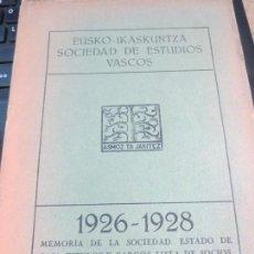 Libros antiguos: EUSKO-IKASKUNTZA SOCIEDAD DE ESTUDIOS VASCOS 1926-1928. Lote 161662582
