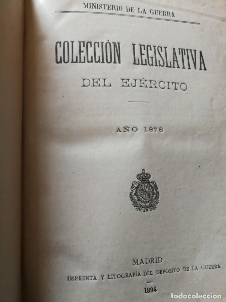 Libros antiguos: Colección legislativa del ejército.Ministerio guerra.Intendencia militar de valencia.año 1878.libro. - Foto 3 - 161678266