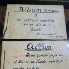 Libros antiguos: 2 ALBUM INFANTIL ARTESANO DEDICADO AL PADRE Y ABUELO PRECIOSOS DIBUJOS INFANTILES AÑO 1939 ESCOLAR . Lote 161698922