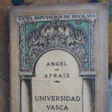 Libros antiguos: ANGEL DE APRAIZ-UNIVERSIDAD VASCA. Lote 161821318