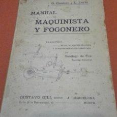 Libros antiguos: MANUAL DEL MAQUINISTA Y FOGONERO, DE G. GAUTERO Y L. LORIA. 1907. . Lote 162501594