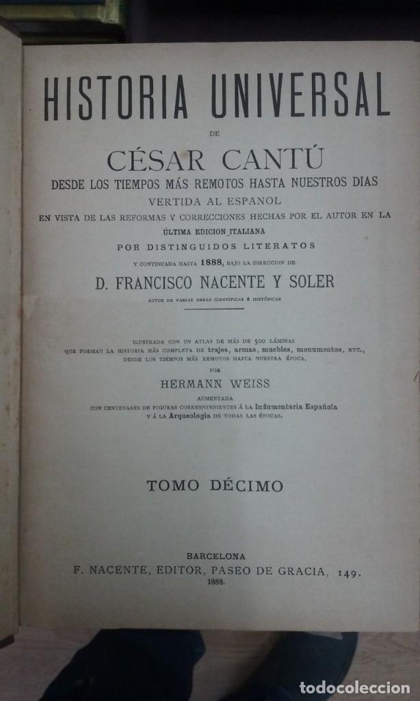 Libros antiguos: LMV - CESAR CANTU.- HISTORIA UNIVERSAL. 11 TOMOS + TOMO- ATLAS. F. NACENTE, EDITOR. 1888 - Foto 2 - 162541274