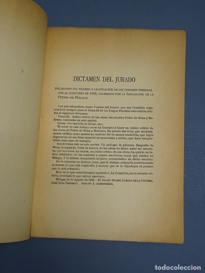 Libros antiguos: ÍNDICE CRÍTICO DE LAS OBRAS DEL ESCULTOR PEDRO DE MENA Y MEDRANO EN MÁLAGA-F. DE P.L. LA VEGA-1910 - Foto 3 - 162874606