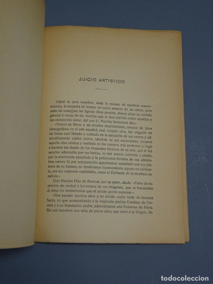 Libros antiguos: ÍNDICE CRÍTICO DE LAS OBRAS DEL ESCULTOR PEDRO DE MENA Y MEDRANO EN MÁLAGA-F. DE P.L. LA VEGA-1910 - Foto 5 - 162874606
