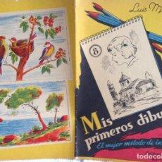 Libros antiguos: (7) CUADERNOS DE DIBUJO. MÉTODO INICIACIÓN AL DIBUJO (AÑOS 40). DIBUJO DE ANIMALES. PARA COLOREAR.. Lote 163620330