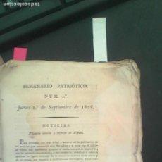 Libros antiguos: .GUERRA DE LA IDEPENDENCIA, SEMANARIO PATRIOTICO., MADRID POR GOMEZ FUENTENEBRO 1808. Lote 163703610
