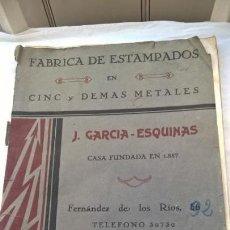 Libros antiguos: FÁBRICA DE ESTAMPADOS CINC, COBRE, LATÓN DEMÁS METALES J GARCÍA ESQUINAS 1931 CON CATÁLOGO TARIFAS -. Lote 147446646
