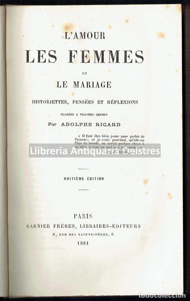 [MUJERES. PARIS, 1881] HISTORIETTES, PENSÉES ET RÉFLEXIONS GLANÉES A TRAVERS CHAMPS. (Libros Antiguos, Raros y Curiosos - Pensamiento - Otros)