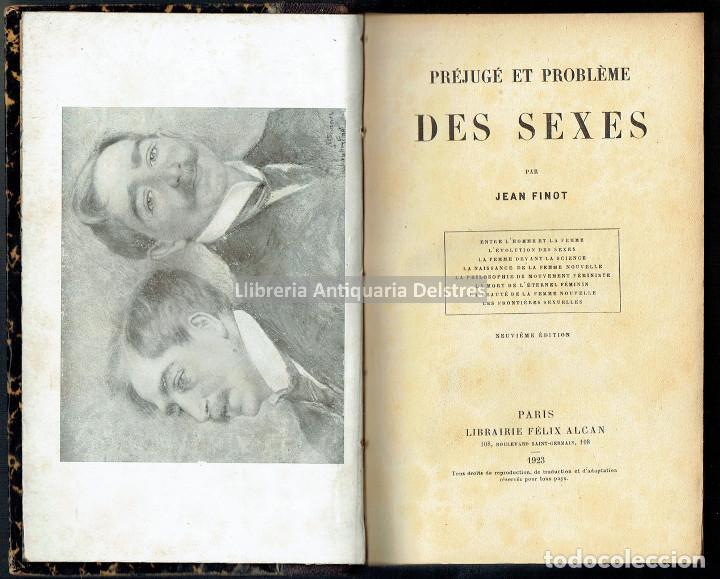 [MUJERES. PARIS, 1923] FINOT, JEAN. PRÉJUGÉ ET PROBLEME DES SEXES. ENTRE L'HOMME ET LA FEMME. (Libros Antiguos, Raros y Curiosos - Pensamiento - Otros)