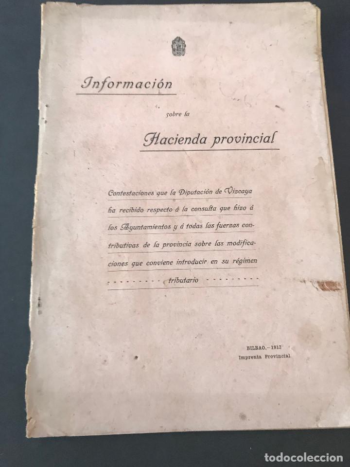 -INFORMACIÓN SOBRE LA HACIENDA PROVINCIAL- BILBAO AÑO 1913. (Libros Antiguos, Raros y Curiosos - Historia - Otros)