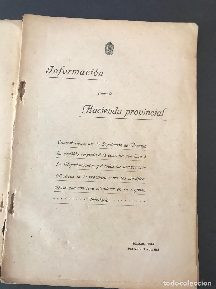 Libros antiguos: -Información sobre la Hacienda provincial- Bilbao año 1913. - Foto 2 - 163967806