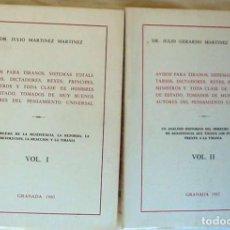 Libros antiguos: AVISOS PARA TIRANOS, SISTEMAS TOTALITARIOS, DICTADORES, REYES, PRÍNCIPES, MINISTROS - JULIO MARTINEZ. Lote 164100634