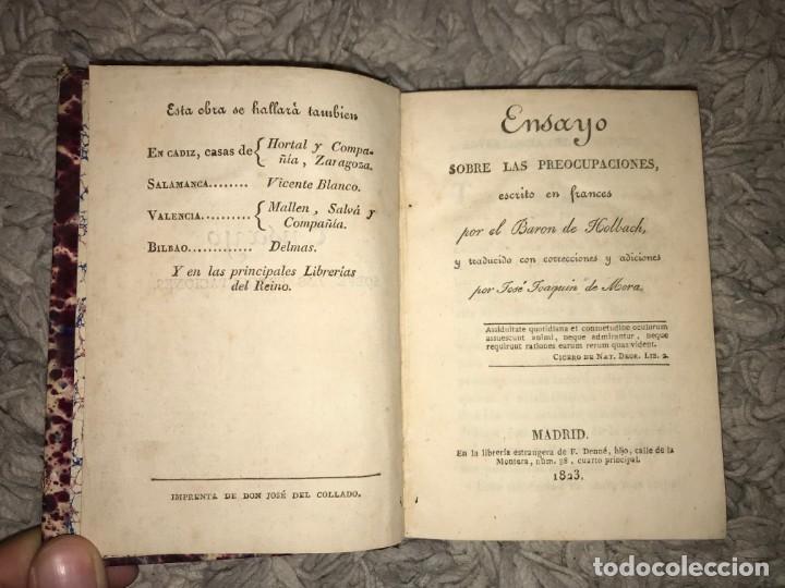 Libros antiguos: Ensayo sobre las preocupaciones. Barón de Holbach. Traducido por Joaquín de Mora. 1823 - Foto 2 - 164287802