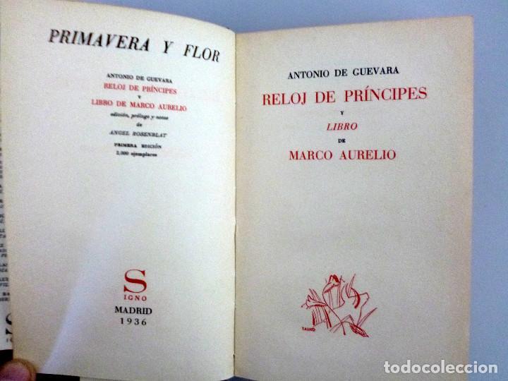 ANTONIO DE GUEVARA // RELÓJ DE PRÍNCIPES Y LIBRO DE MARCO AURELIO // EDITORIAL SIGNO // 1936 (Libros Antiguos, Raros y Curiosos - Pensamiento - Otros)