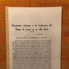 Libros antiguos: DOCUMENTOS REFERENTES A LAS FUNDACIONES DEL DUQUE DE LERMA EN SU VILLA DUCAL-LCV(13€). Lote 164970166