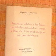 Libros antiguos: DOCUM RELATIVS LAS ESTAMPAS MONASTERIOSANLORENZO EL ESCORIAL DIBUJADASPOR HERRERA LCV(56€). Lote 164970646