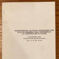 Libros antiguos: INSTRUMENTOS NÁUTICOS INVENTADOS POR J.D.H.PARA DETERMINAR LA LONGITUD DE UN LUGAR-RABASF-LCV(13€). Lote 164971486