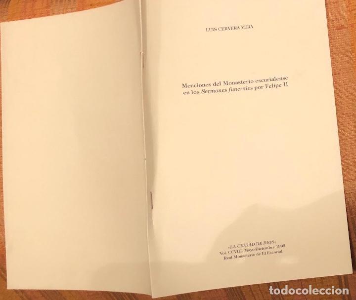 Libros antiguos: Menciones del monasterio escurialense en los sermones funerales por Felipe II-LCV(13€) - Foto 3 - 164973350